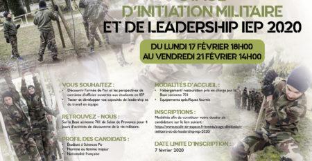 Affiche stage d'initiation militaire IEP 2020